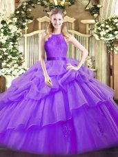 Sleeveless Floor Length Lace and Ruffled Layers Zipper Quinceanera Dress with Eggplant Purple