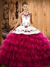 Fuchsia Sleeveless Floor Length Embroidery and Ruffled Layers Lace Up Vestidos de Quinceanera