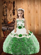 Multi-color Ball Gowns Straps Sleeveless Fabric With Rolling Flowers Floor Length Lace Up Embroidery and Ruffles Kids Pageant Dress