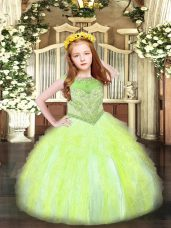 Trendy Yellow Green Ball Gowns Scoop Sleeveless Organza Floor Length Zipper Beading and Ruffles Pageant Dress for Teens