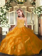 Superior Straps Sleeveless Evening Gowns Floor Length Beading and Ruffles Orange Organza