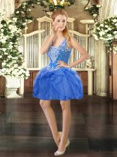 Chic Mini Length Baby Blue Prom Gown Straps Sleeveless Lace Up