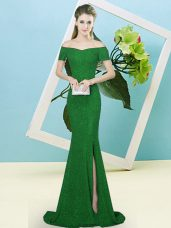 Colorful Green Sequined Sweep Train Short Sleeves Sequins