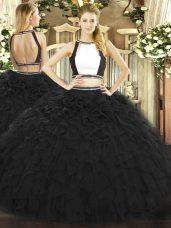 Black Tulle Backless Halter Top Sleeveless Floor Length Quinceanera Dress Ruffles