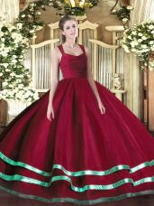 Wine Red Ball Gowns Straps Sleeveless Organza Floor Length Zipper Ruffled Layers and Ruching Quinceanera Gown