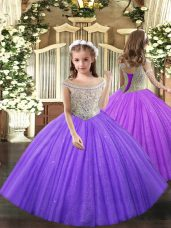 Attractive Lavender Child Pageant Dress Party and Sweet 16 and Quinceanera and Wedding Party with Beading Straps Sleeveless Lace Up