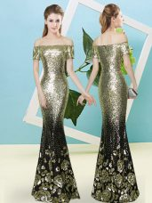 Customized Gold Short Sleeves Sequins Floor Length Prom Evening Gown