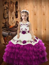 Fuchsia Sleeveless Embroidery and Ruffled Layers Floor Length Little Girls Pageant Dress