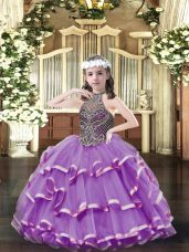Sleeveless Organza Floor Length Lace Up Kids Pageant Dress in Lavender with Beading