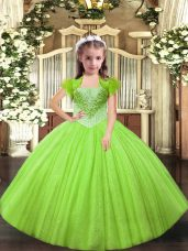 Superior Yellow Green Tulle Lace Up Little Girls Pageant Dress Wholesale Sleeveless Floor Length Beading