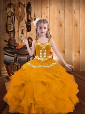 Gold Sleeveless Embroidery and Ruffles Floor Length Kids Pageant Dress