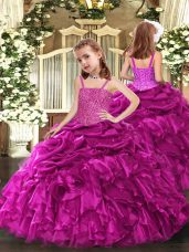 Fuchsia Ball Gowns Organza Straps Sleeveless Beading and Ruffles Floor Length Lace Up Little Girls Pageant Dress Wholesale