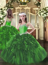 Dark Green Sleeveless Floor Length Beading and Ruffles Lace Up Pageant Gowns