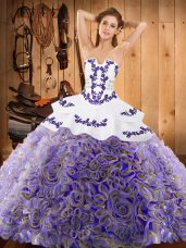 Dynamic Embroidery 15 Quinceanera Dress Multi-color Lace Up Sleeveless With Train Sweep Train