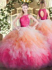 Captivating Ball Gowns Sweet 16 Dress Multi-color Scoop Organza Sleeveless Floor Length Zipper