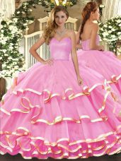 Ideal Organza Sweetheart Sleeveless Lace Up Ruffled Layers 15 Quinceanera Dress in Rose Pink