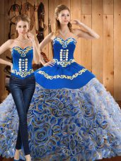 Multi-color Sleeveless With Train Embroidery Lace Up Quince Ball Gowns
