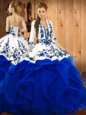 Hot Selling Blue Satin and Organza Lace Up Sweet 16 Quinceanera Dress Sleeveless Floor Length Embroidery and Ruffles