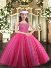 Custom Design Hot Pink Pageant Dresses Party and Sweet 16 and Quinceanera and Wedding Party with Beading Straps Sleeveless Lace Up