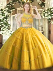 New Arrival Gold Two Pieces Tulle Scoop Sleeveless Beading Floor Length Zipper Quinceanera Dress