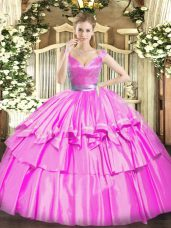 Flare Fuchsia Zipper V-neck Beading and Ruffled Layers Quinceanera Gown Tulle Sleeveless