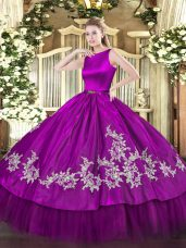 Best Scoop Sleeveless Clasp Handle Quinceanera Dresses Fuchsia Satin and Tulle