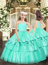 Inexpensive Ball Gowns Party Dress Wholesale Turquoise Straps Organza Sleeveless Floor Length Zipper