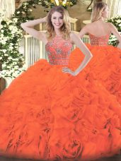 Inexpensive Floor Length Orange Red Quinceanera Gowns Tulle Sleeveless Beading and Ruffles