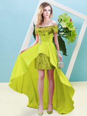Graceful High Low Yellow Evening Dress Off The Shoulder Short Sleeves Lace Up