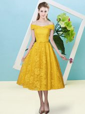 Decent Tea Length Lace Up Dama Dress Gold for Prom and Party and Wedding Party with Bowknot