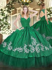 Popular Dark Green Sleeveless Floor Length Beading and Lace and Appliques Backless Sweet 16 Dresses