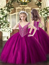 Fuchsia Tulle Lace Up Kids Pageant Dress Sleeveless Floor Length Beading