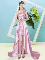 Customized Rose Pink Lace Up One Shoulder Sequins Prom Party Dress Elastic Woven Satin and Sequined Sleeveless