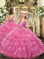 V-neck Sleeveless Child Pageant Dress Floor Length Beading and Ruffled Layers and Pick Ups Rose Pink Organza
