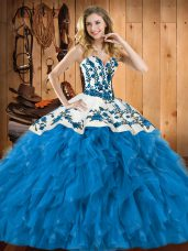 Fantastic Teal Lace Up Quinceanera Dresses Embroidery and Ruffles Sleeveless Floor Length