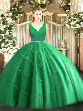 Chic Green Tulle Zipper V-neck Sleeveless Floor Length 15th Birthday Dress Beading