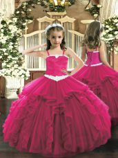 Attractive Hot Pink Ball Gowns Appliques and Ruffles Pageant Dress Womens Lace Up Tulle Sleeveless Floor Length