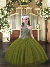 Olive Green Halter Top Neckline Beading Pageant Dresses Sleeveless Lace Up