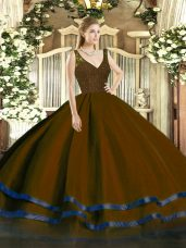 Tulle V-neck Sleeveless Zipper Beading and Ruffled Layers Sweet 16 Quinceanera Dress in Brown