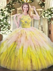 Sleeveless Floor Length Beading and Ruffles Zipper Sweet 16 Dresses with Multi-color
