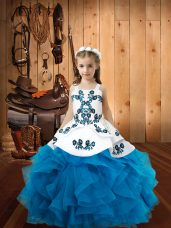 Floor Length Baby Blue Party Dress Wholesale Straps Sleeveless Lace Up
