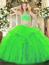 Two Pieces Beading and Ruffles Sweet 16 Quinceanera Dress Backless Tulle Sleeveless Floor Length