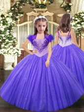 Fashionable Lavender Pageant Dress for Womens Party and Sweet 16 and Quinceanera and Wedding Party with Beading Straps Sleeveless Lace Up