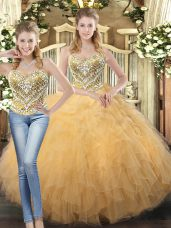 Unique Champagne Sleeveless Floor Length Beading and Ruffles Lace Up Quinceanera Gowns