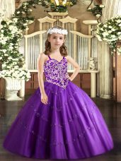 Floor Length Purple Pageant Dress Womens Straps Sleeveless Lace Up