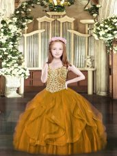 Perfect Tulle Spaghetti Straps Sleeveless Lace Up Beading and Ruffles Kids Formal Wear in Brown