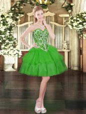 Sleeveless Mini Length Beading and Ruffled Layers Lace Up Dress for Prom with Green