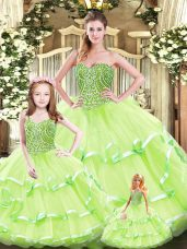 Yellow Green Sweetheart Neckline Beading and Ruffled Layers Vestidos de Quinceanera Sleeveless Lace Up