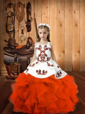 Nice Orange Red Sleeveless Embroidery Floor Length Little Girl Pageant Gowns