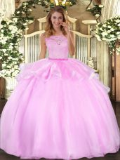 Lilac Sleeveless Organza Clasp Handle Quinceanera Gowns for Military Ball and Sweet 16 and Quinceanera